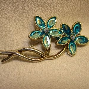 Vintage Silver and Blue Enamel Flower Pin